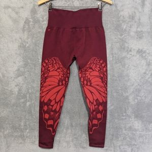 Fabletics red high waisted butterfly 7/8 leggings